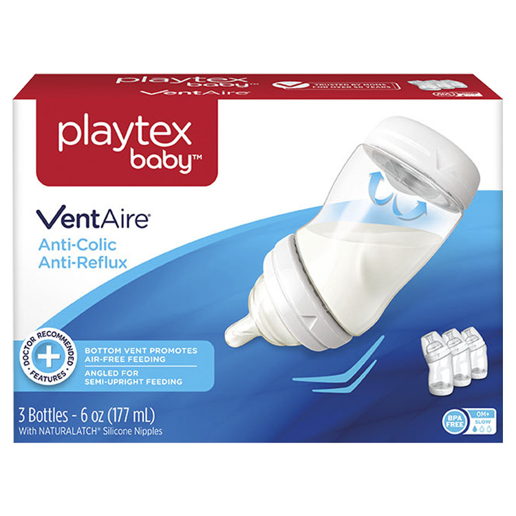 Playtex Baby VentAire Complete Tummy Comfort 6oz 3-Pack Baby Bottle