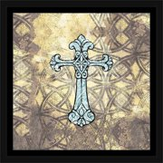 Grunge Modern Cross Illustration Abstract Religious Painting Yellow & Blue, Framed Canvas Art by Pied Piper Creative