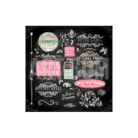 Set of Vintage Chalkboard Bakery Logo Badges and Labels for Retro Design. Chalkboard Illustration V Print Wall Art By Ozerina (Anna B Design)