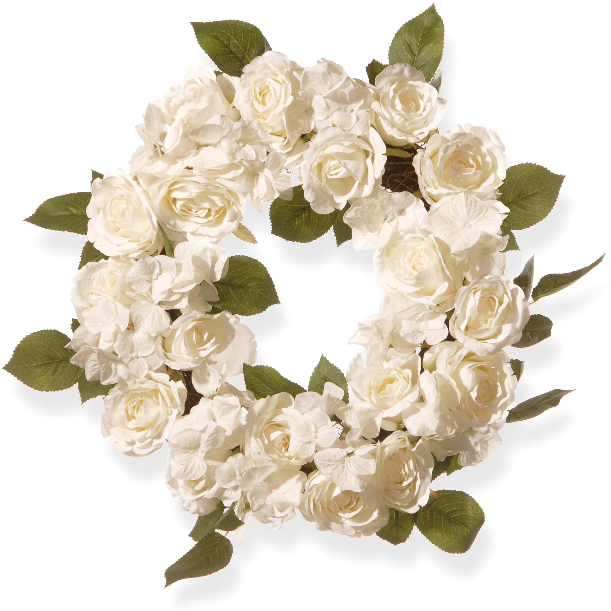 "16"" White Rose Wreath"