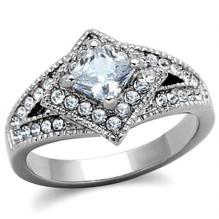 Women's Stainless Steel 316 Cushion Cut 1 Carat Cubic Zirconia Engagement Ring Size 6