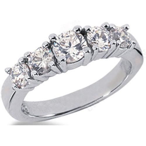 1.05ct Round Cut 5 Diamond Anniversary Wedding Band, Size 6, Prong set, Platinum by