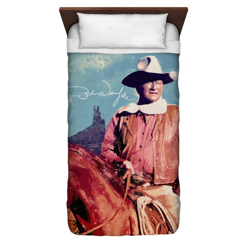 John Wayne Monument Man Twin Duvet Cover White 68X88