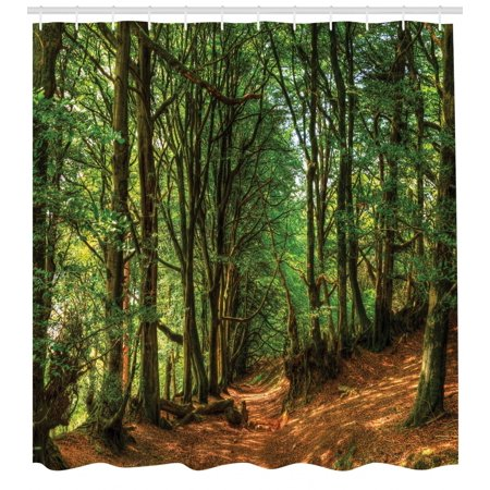 Woodland Shower Curtain, Woodland Scene with Trees and Pathway Foliage Trunk Greenery Outdoor Picture, Fabric Bathroom Set with Hooks, Green Brown, by Ambesonne - Halloween 5 Shower Scene