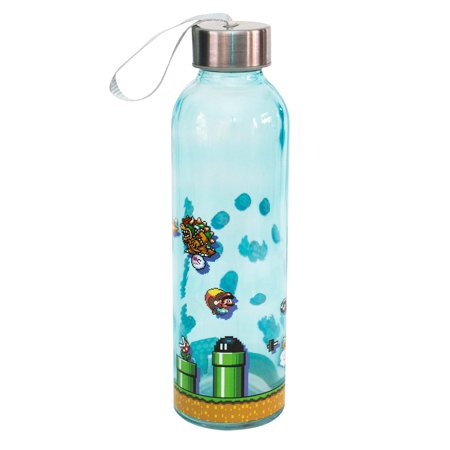Super Mario Bros  Level Up Glass Water Bottle