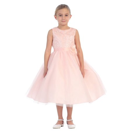 4eb4f2062fc Tip Top Kids - Little Girls Blush Floral Accent Sequin Lace Tulle Flower  Girl Dress - Walmart.com