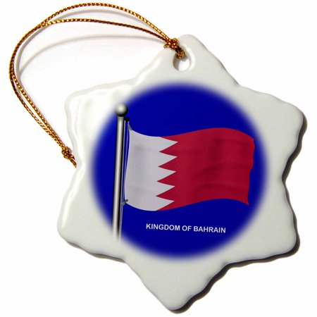 3dRose The waving flag of the Middle East country of the Kingdom of Bahrain, Snowflake Ornament, Porcelain, 3-inch