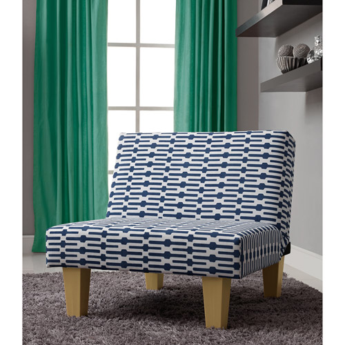 Aria Accent Chair, Blue and White