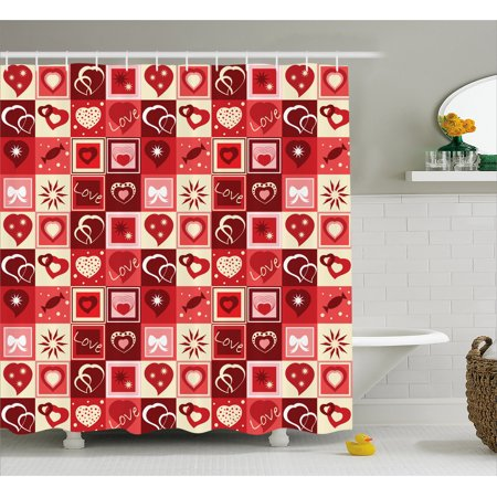 Red Shower Curtain Valentines Day Themed Frames Pattern With Hearts Stars Love Lettering And Candy