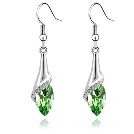 Women Crystal Water Drop Hook Earring Alloy Long Dangle Earrings ()