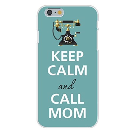 Keep Calm Call (Apple iPhone 6+ (Plus) Custom Case White Plastic Snap On - Keep Calm and Call Mom w/ Old Style Vintage Telephone )