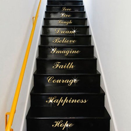 Acrylic Silver Mirror Effect Quote Word Art Stair Decals Wall Sticker Home Decor
