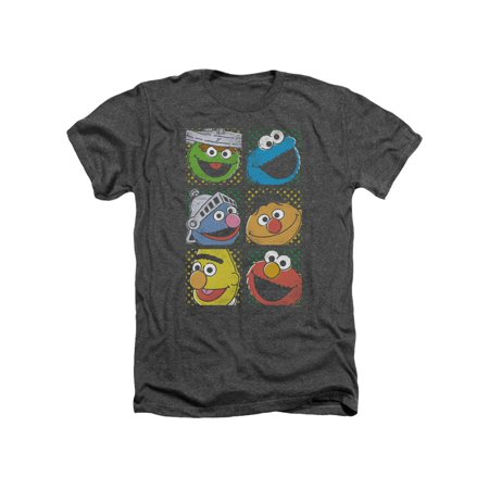 Sesame Street Classic Children's TV Show Group Squares Adult Heather T-Shirt Tee - Sesame Street For Adults