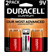 Duracell Quantum Alkaline 9V Batteries with PowerCheck, 2 Pack