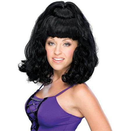 Spicy Girl Rock Star Black Ponytail Bun Wig Women's Costume - Rock Star Costume Girl