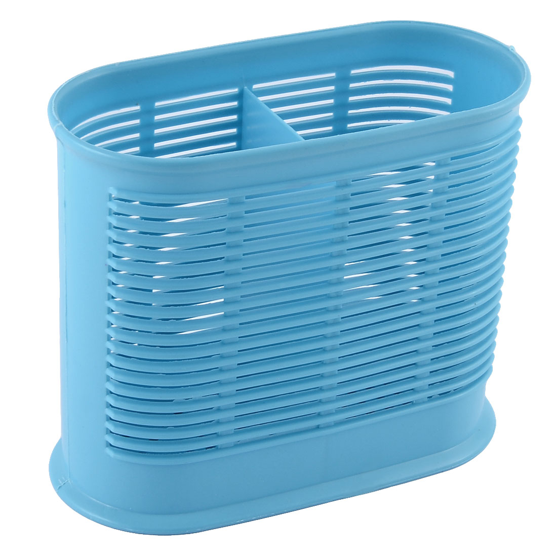 Plastic 2 Compartments Spoon Chopsticks Holder Stand Cage Organizer Blue