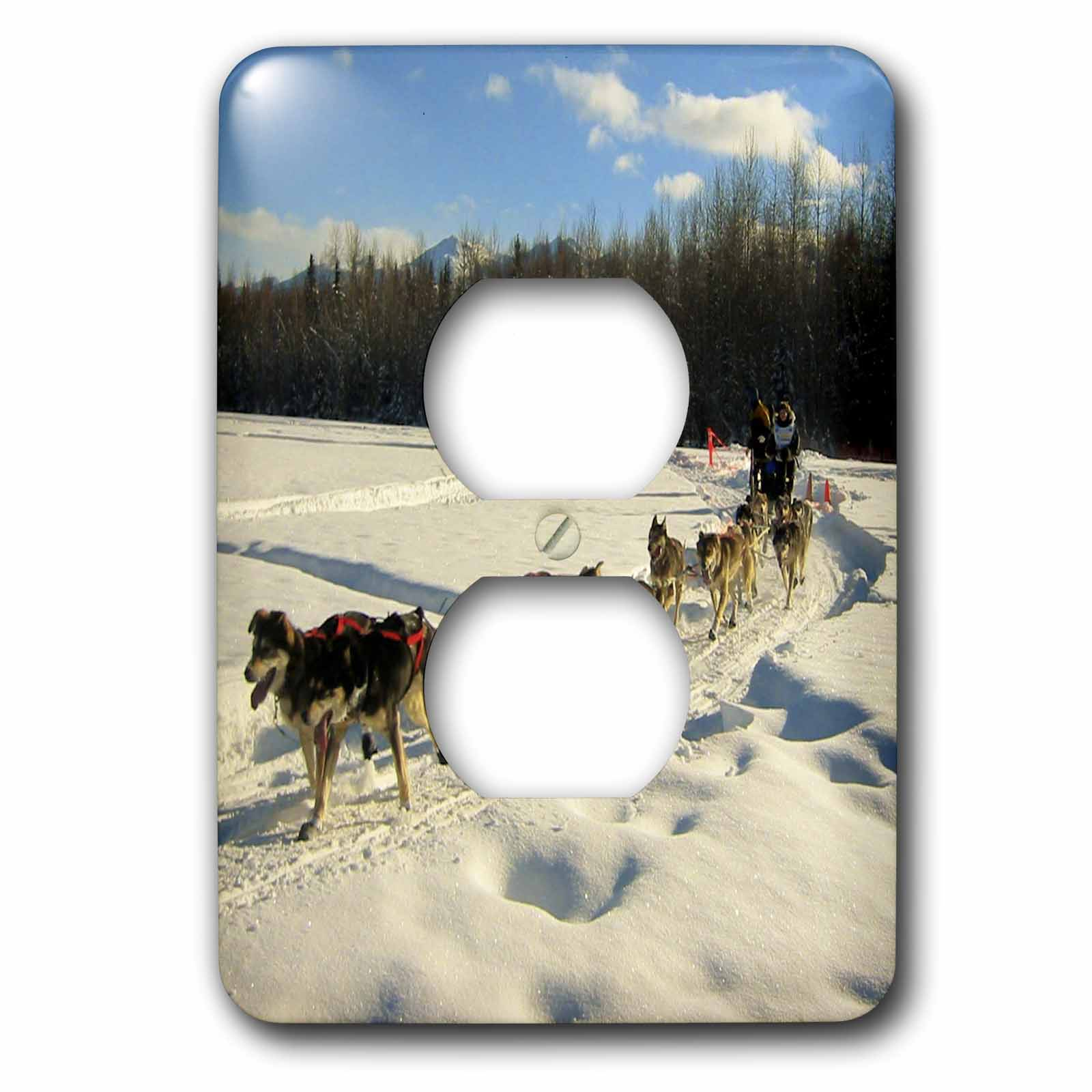 3dRose Iditarod Sled Dog Racing in Fairbanks 2 Plug Outlet Cover by 3dRose