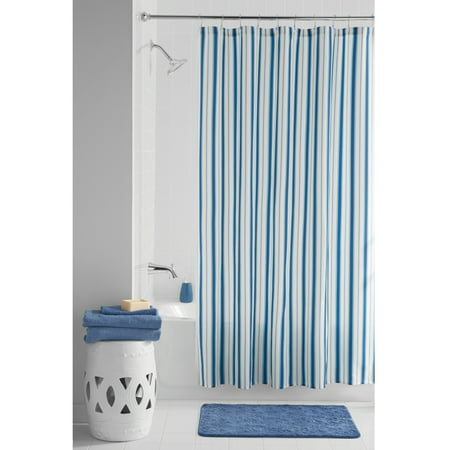 Mainstays Boardwalk Fabric Shower Curtain Set, 13 Piece
