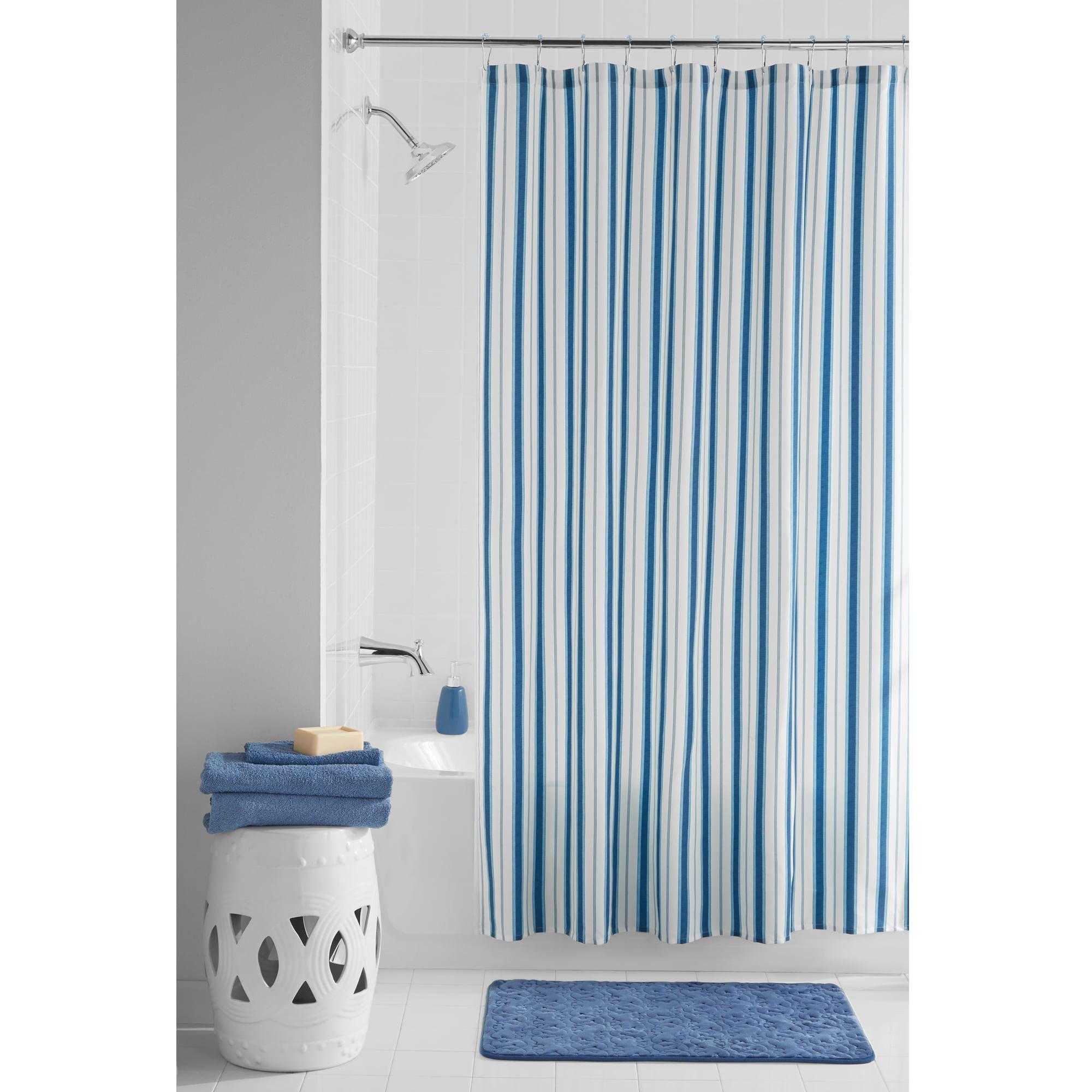 Mainstays Boardwalk Fabric 13-Piece Shower Curtain Set