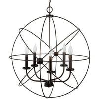 "Kira Home Orbits II Large 24"" 5-Light Modern Sphere/Orb Chandelier Bronze"
