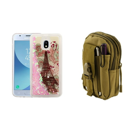 Liquid Glitter Flowing Quicksand Protective Cover Case (Eiffel Tower/Hearts) with Khaki Tactical EDC MOLLE Waist Bag Holder Pouch and Atom Cloth for Samsung Galaxy Express Prime 3