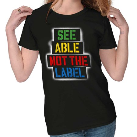 Brisco Brands See Able Not The Label Autism Adult Short Sleeve T-Shirt Blac Label Hoodies