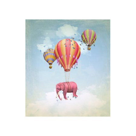 Magazine Illustration (Pink Elephant in the Sky with Balloons. Illustration for a Card or Book Cover or Magazine. Computer Print Wall Art By Ganna Demchenko )