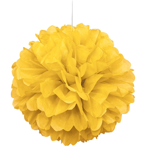 Tissue Paper Pom Pom, 16 in, Yellow, 1ct