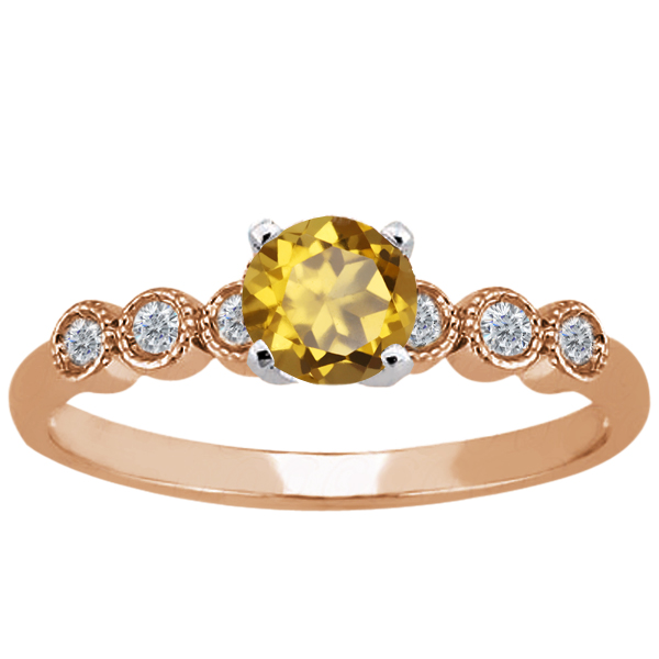 0.94 Ct Round Champagne Quartz 925 Rose Gold Plated Silver Ring