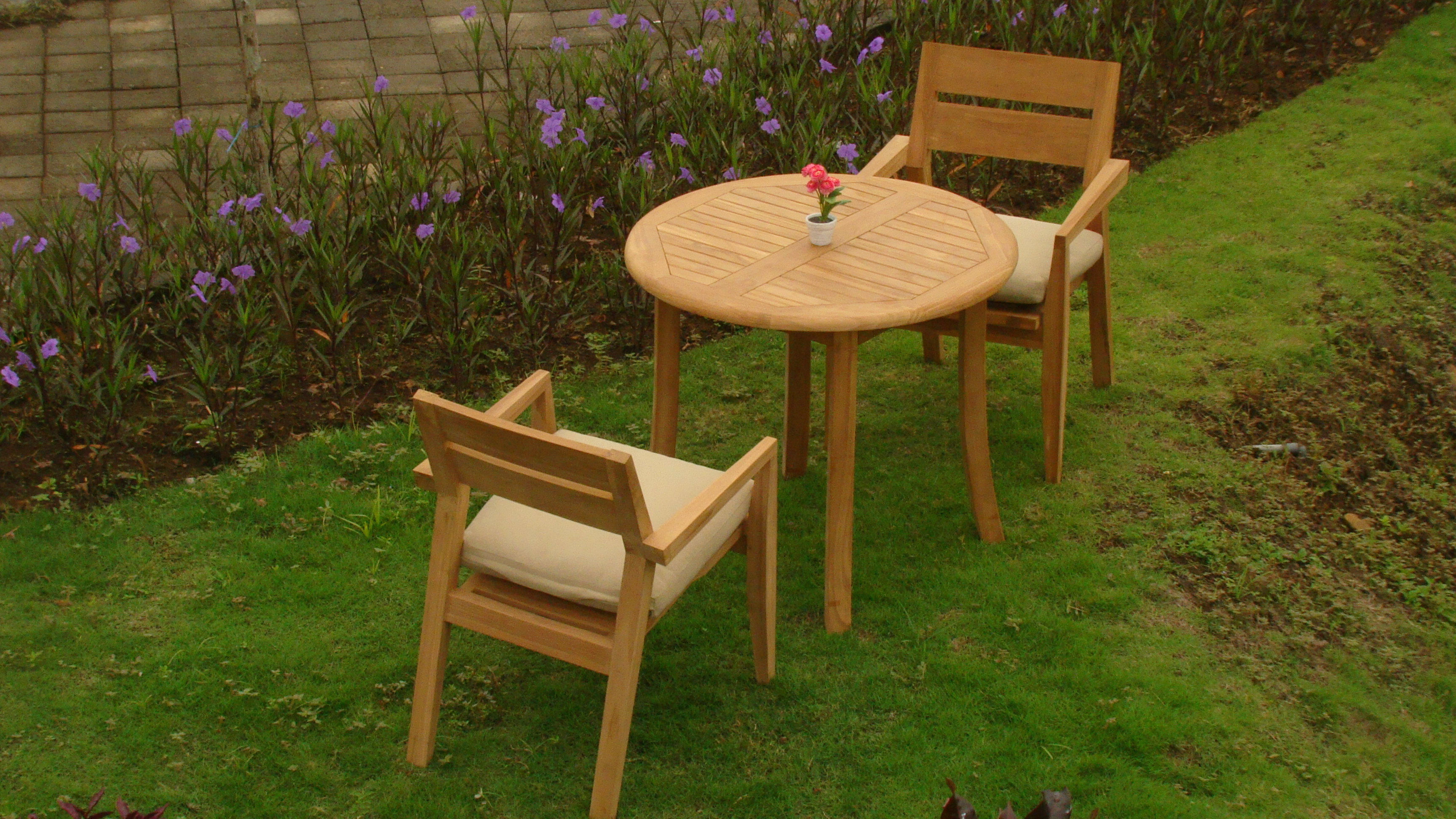 "3 PC A Grade Outdoor Patio Teak Dining Room Set 36"" Round Table & 2 Cellore Stacking Armchairs by"