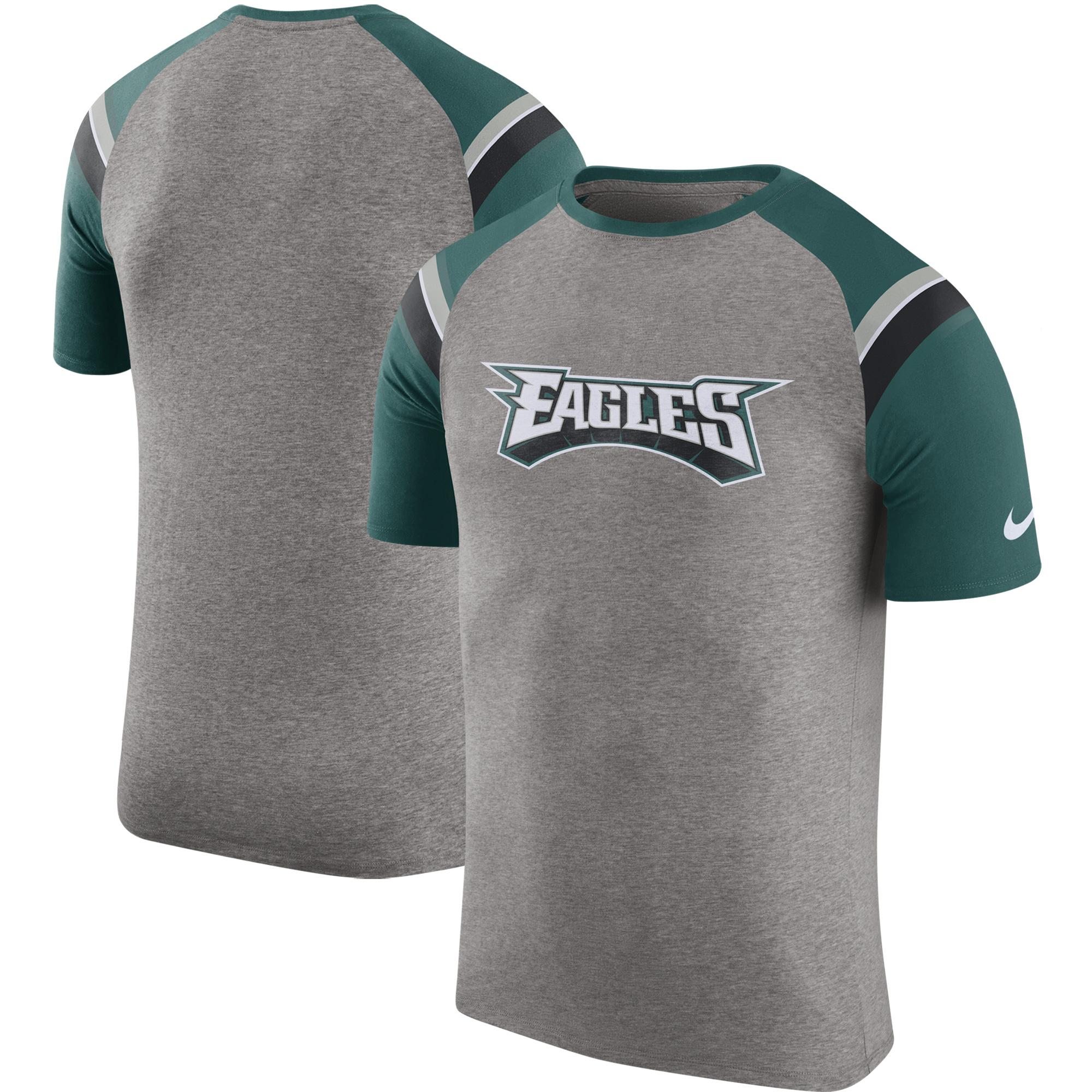 Philadelphia Eagles Nike Enzyme Shoulder Stripe Raglan T-Shirt - Heathered Gray