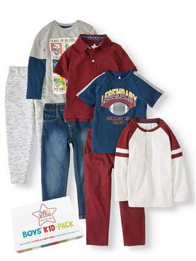 365 Kids from Garanimals Kid-Pack Mix & Match Gift Box, 7-Piece Outfit Set (Little Boys & Big Boys)