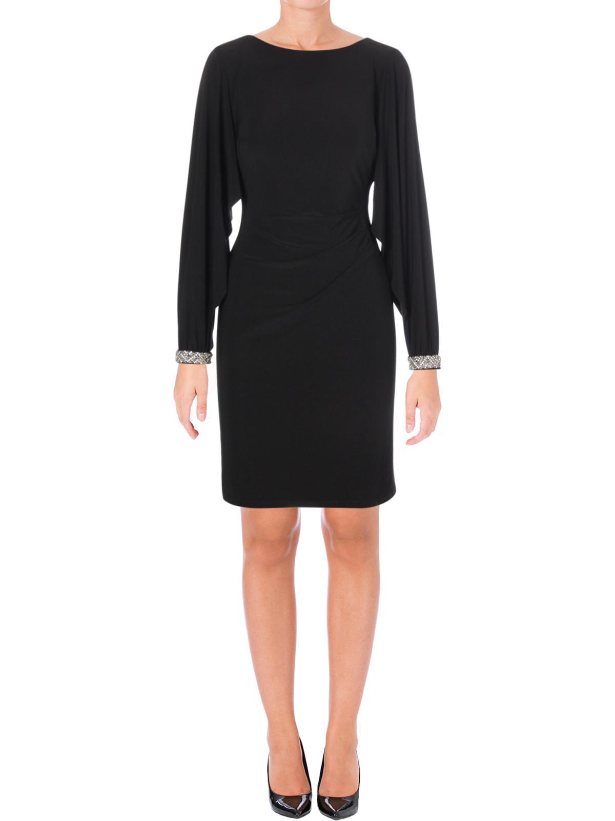 Lauren Ralph Lauren Womens Spark Embellished Cuff Sleeves Cocktail Dress