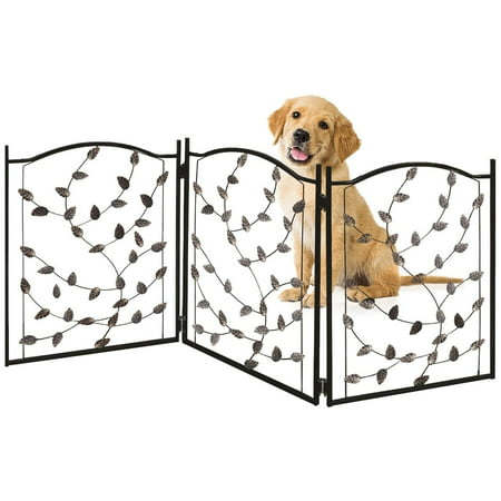 Bundaloo Freestanding Metal Folding Pet Gate | Large Portable Panels for Dog & Cat Security | Foldable & Versatile Enclosure Gates for Puppies | Indoor & Outdoor Playpen Safety Barriers for Pets ()