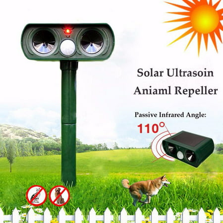 Solar Power Dog Cat Repeller Dual Ultrasonic PIR Infrared Sensor Animal Deterrent Scarer Yard Garden
