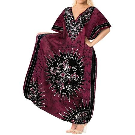 b3c16fdaa4 LA LEELA Women's Cotton plus Lounge Sleep Night Beach Caftan Long Dress