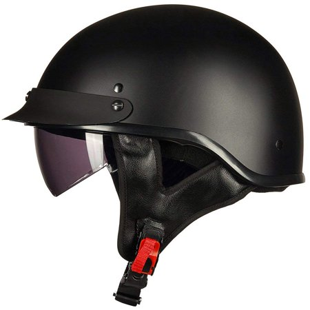 ILM Motorcycle Retro Vintage Half Face Helmet with Sun Visors Quick Release Buckle DOT Certified S M L XL