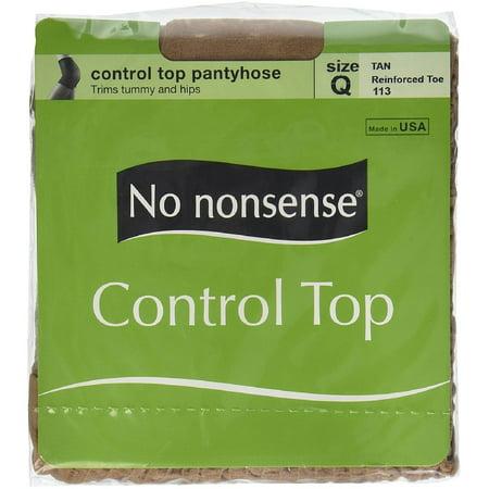 Control Top Pantyhose, Reinforced Toe, Size Q, Tan 1 Pair