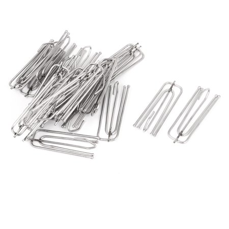 Unique Bargains Stainless Steel Deep Pinch Prong Window Curtain Pleat Hooks Pleated 25pcs
