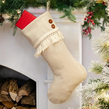 Patriotic Stocking - Belham Living Ivory Fringe Christmas Stocking, 18.5