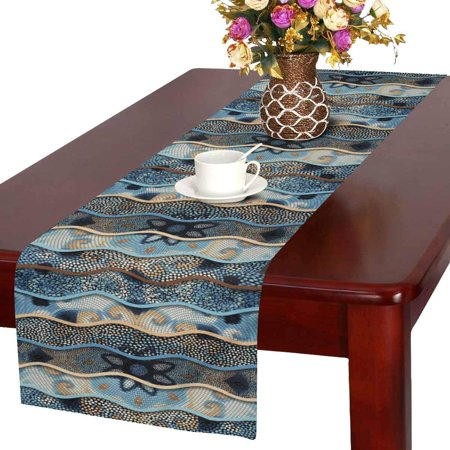 MKHERT Modern Ornamental Mosaic Tile Floral Patterns Relief Waves Table Runner Home Decor for Wedding Banquet Decoration 16x72 Inch