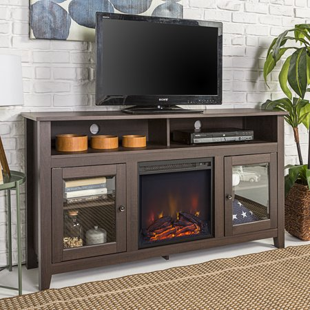 Walker edison 58 wood highboy fireplace tv stand for for Three way fireplace