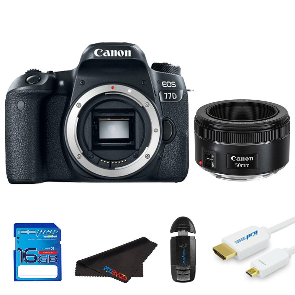 Canon EOS 77D DSLR Camera + Canon 50mm STM Lens + Pixi Starter Bundle Kit