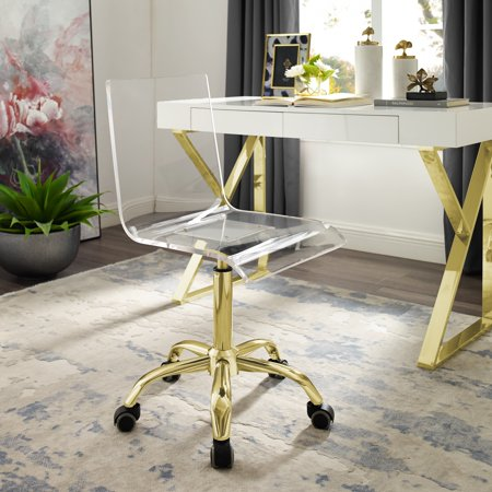 Excellent Alena Clear Acrylic Chair Gold Stainless Steel Base Casters Armless Modern Design Alphanode Cool Chair Designs And Ideas Alphanodeonline