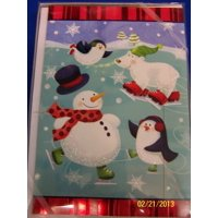 Ice Skating Friends Winter Christmas Holiday Party Gift Boxed Greeting Cards