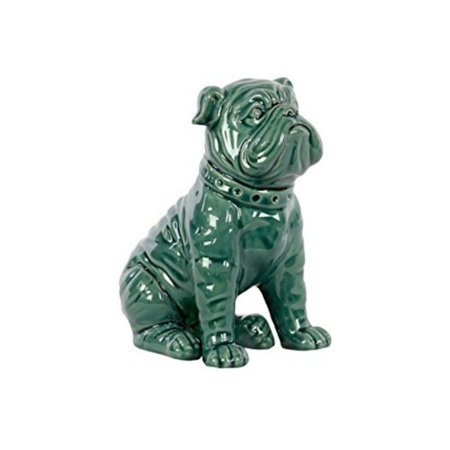 50883 Ceramic Sitting American Bulldog Gloss Turquoise - Turquoise