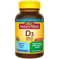 Nature Made Vitamin D3 1000 IU (25mcg) Softgels, 500 Count Everyday Value for Bone Health