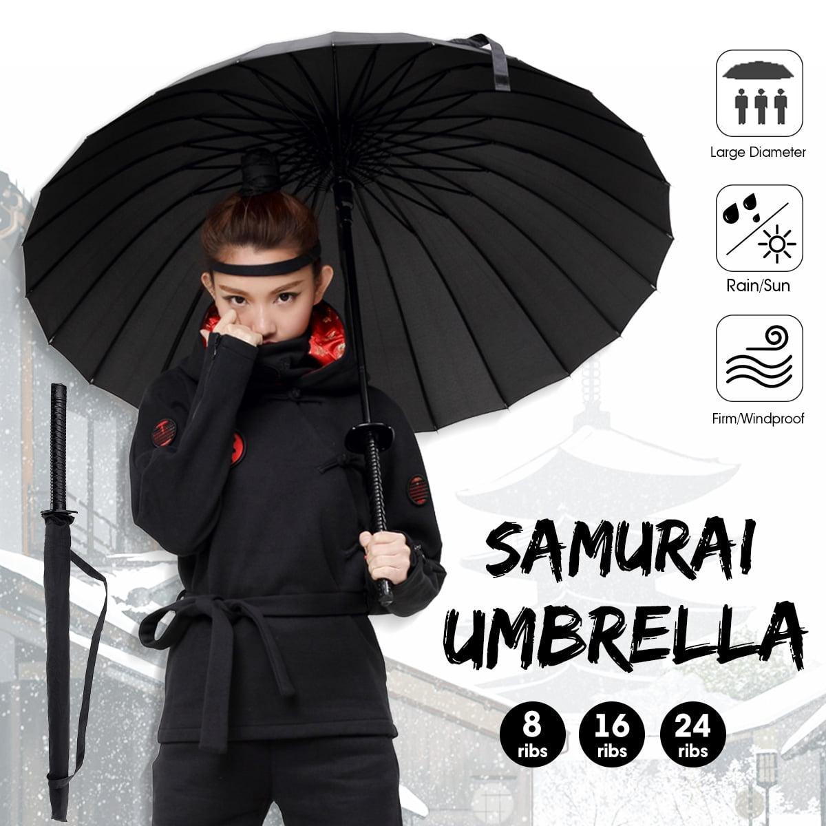 Automatic Open 8//16//24 Ribs Umbrella Sword Handle Sun Rain Wind Proof With Bag