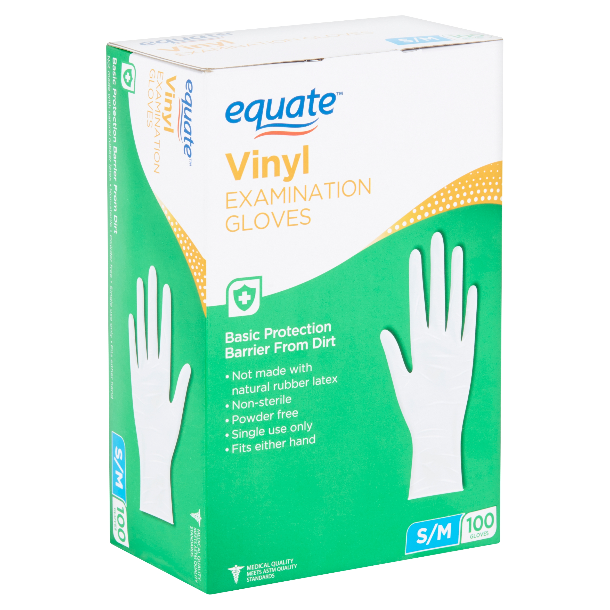 Equate Vinyl Examination Gloves, S/M, 100 count