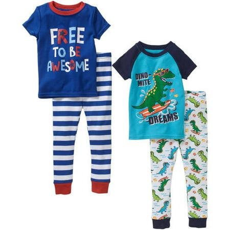 Garanimals Toddler Boy Tight Fit Cotton Pajamas 4 piece Set